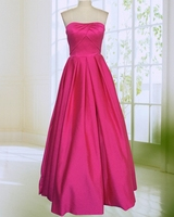 Rose Red Long Satin Prom Dress 2017 Hot Sale A Line Floor Length Strapless Woman Formal Evening Gowns Custom Made