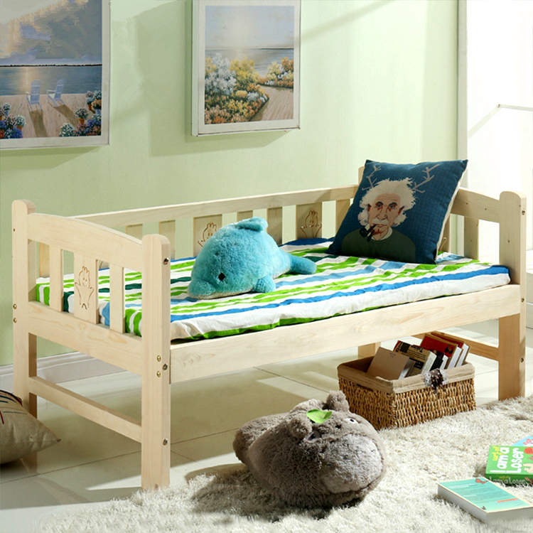 Simple Fashion Soft High Quality Children Bed Solid Wood Lengthen Widen Baby Crib Modern Baby Single Bed Combine Big Bed Crib