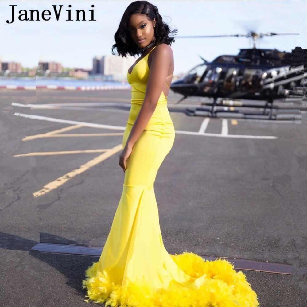 JaneVini סקסי אפריקאי בת ים ארוך ערב שמלות 2019 ספגטי רצועות נוצות ללא משענת סאטן פורמליות צהוב שמלת Abendkleider