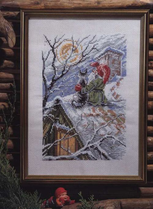 oneroom Gold Collection Lovely Counted Cross Stitch Kit Christmas Gnome Cat on a Snowy Roof Santa Winter Snow
