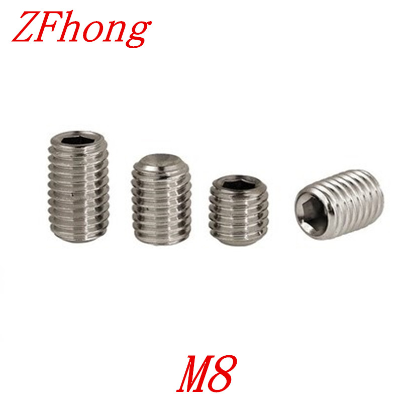 20PCS DIN916 M8*6/8/10/12/16/20/25/30/35/40/45/50  Stainless Steel Allen Head Hex Socket Set Screw Grub Screw with cup point 2pc din912 m10 x 16 20 25 30 35 40 45 50 55 60 65 screw stainless steel a2 hexagon hex socket head cap screws