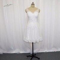 חם למכור לבן שמלת כלה קצרה באורך הברך חרוזים Vestido דה Noiva Curto שמלות הכלה 2017 נשים כפתורי תחרה חתונה שמלות