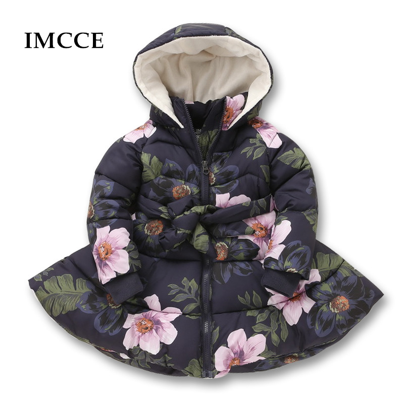 Winter Girls Hooded Jacket Tryckta Blommor Zipper Winter Coat For Girls Kids Padded Jacka Casual Barn Ytterkläder 2-9 år