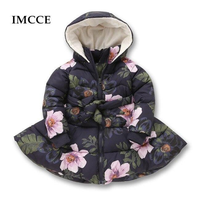 582747571 Winter Girls Hooded Jacket Printed Flowers Zipper Winter Coat For Girls Kids  Padded Jacket Casual Children's Outerwear 2-9 yrs