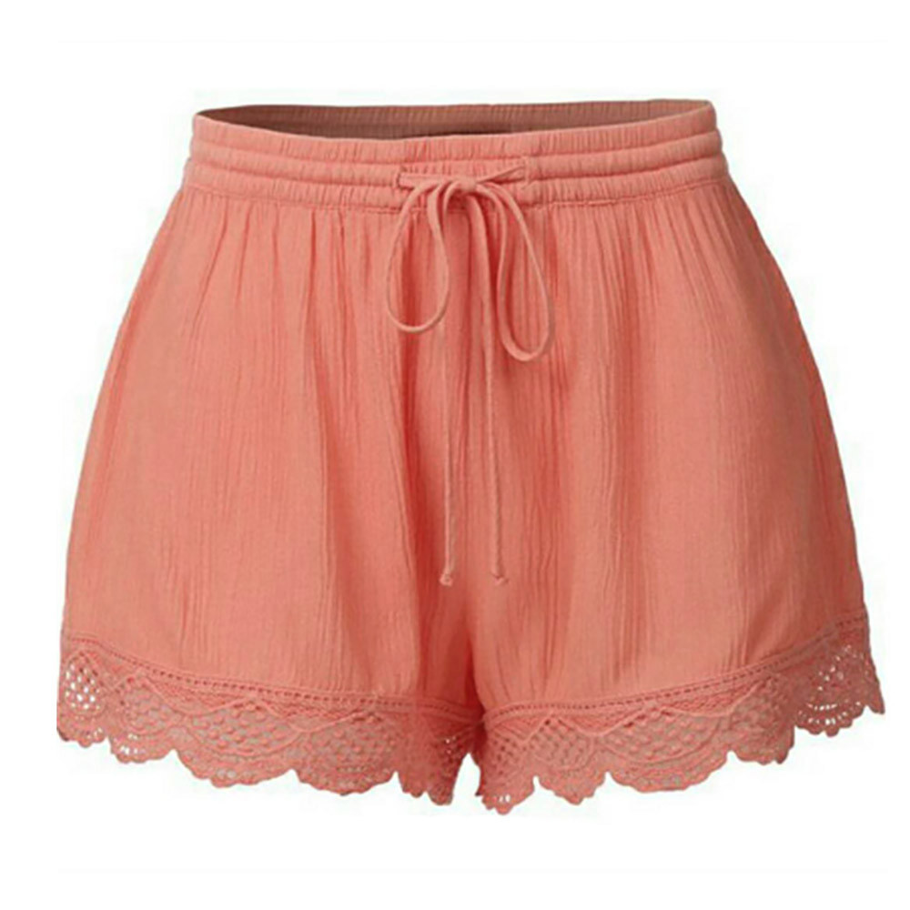 Plus Size 5XL Womenshorts Summer Short Femme Sexy Lace Rope Tie Shorts Sport Trousers Summer Shorts Feminino Spodenki Damskie