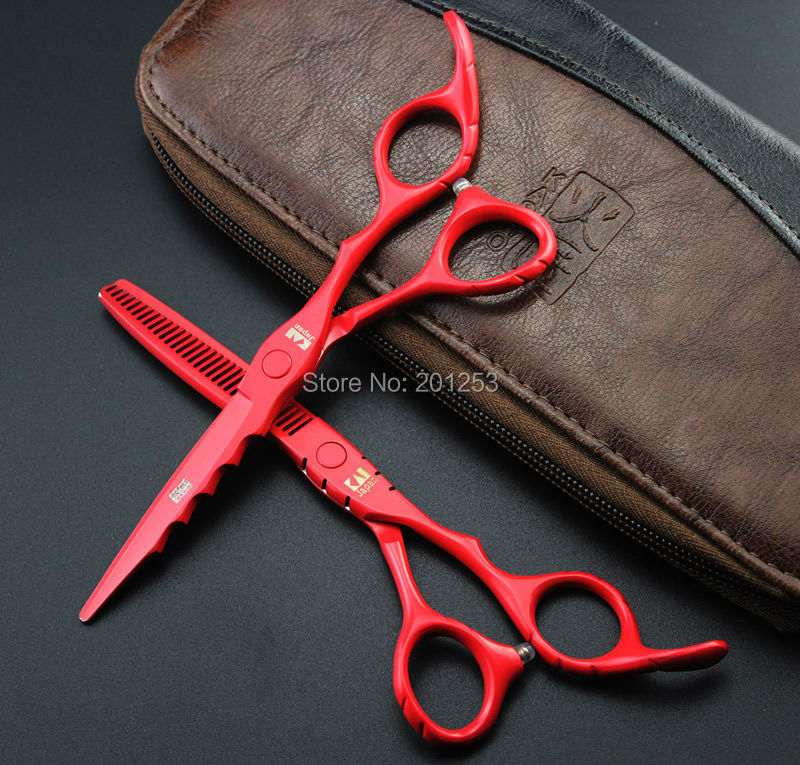 6.0Inch Professional Cutting Scissors and Thinning Scissors Kits,Hair Paint Shears for Hairdressers Red Color 1set LZS0403