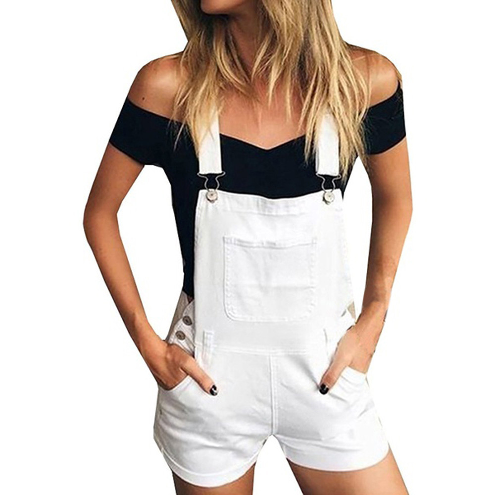 Women Cotton Shorts 2019 Fashion Denim Overalls Pocket Button Summer Black White Green Suspender Trousers