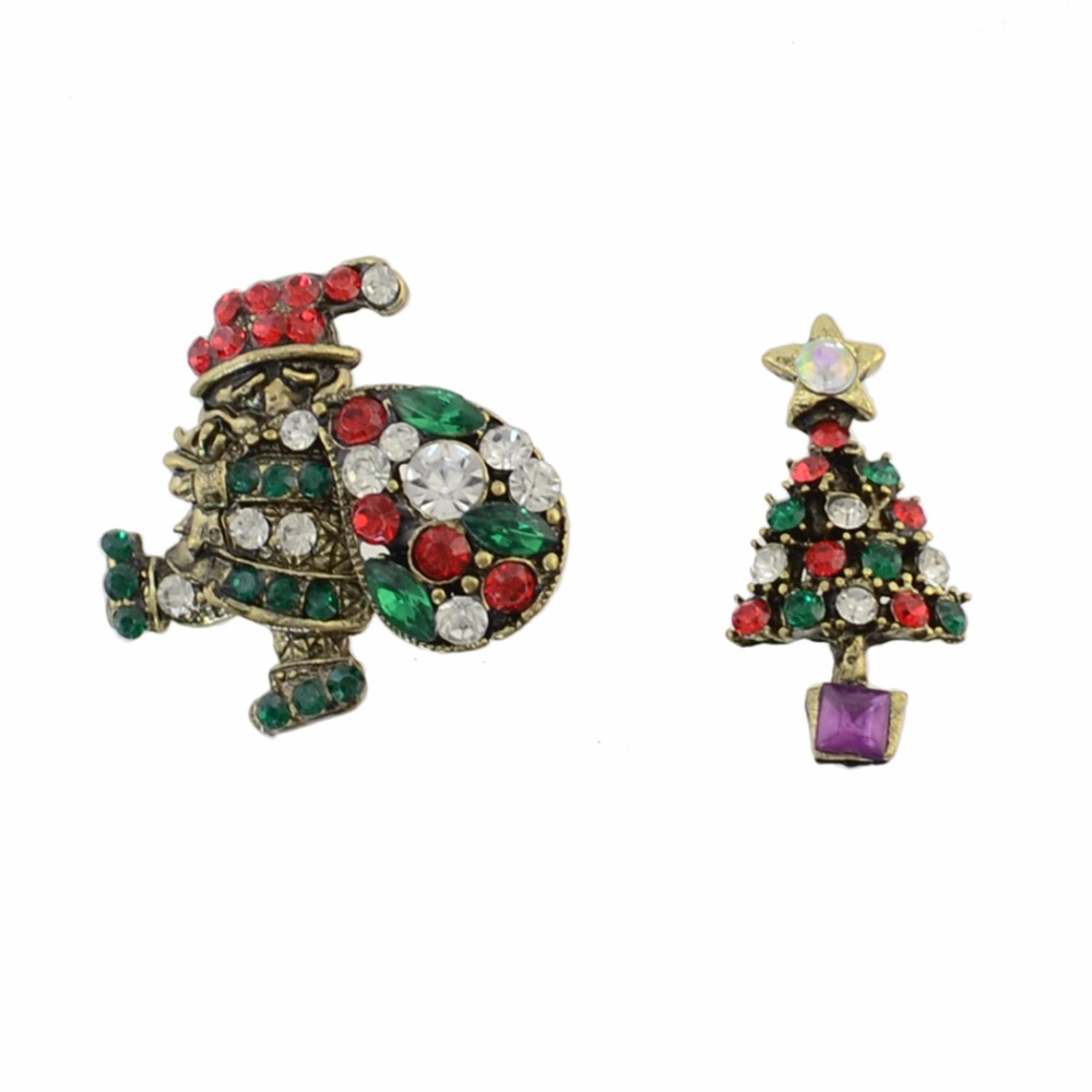 Idealway Fashion Rhinestone Santa Claus Christmas Tree Snowman Wreath Brooch Pin Women Kids Clother Dress Accessories Gift