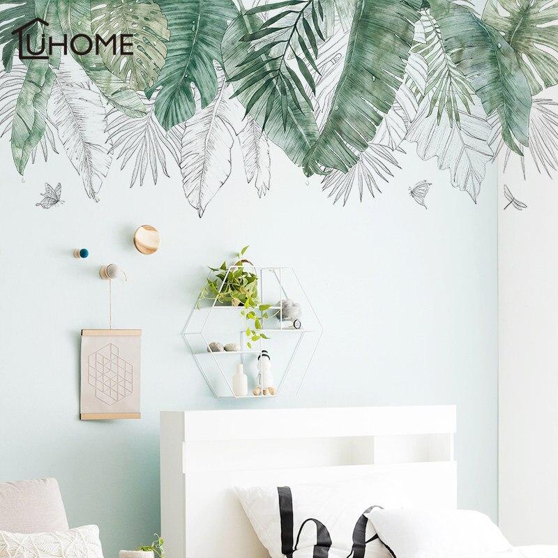Frais naturel vert Tropical raphia arbre feuilles Sticker Mural vinyle bricolage Mural Art autocollant pour salon chambre stickers muraux