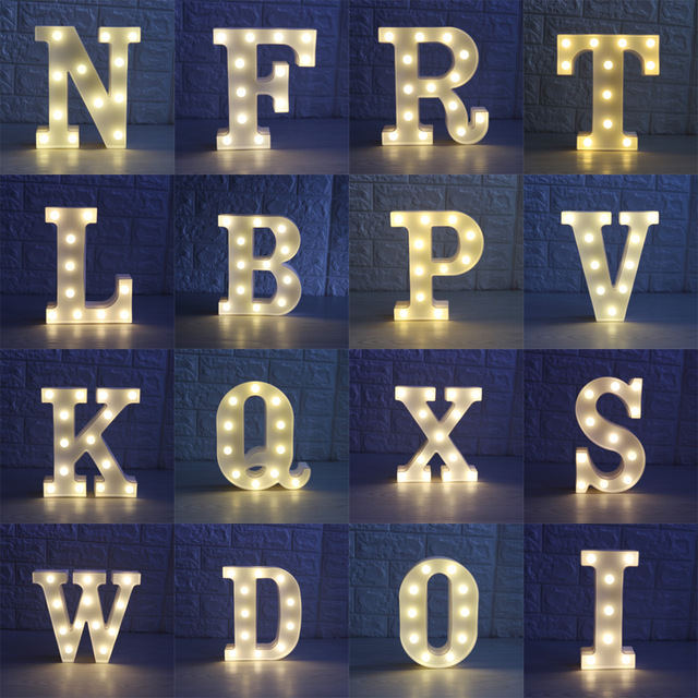 40PCS Letters White LED Night Light Marquee Creative Lamp For Birthday Wedding Party Bedroom Wall Hanging decoration ropio love letters shape led night lights table lamp wall hanging neon light for festival wedding party decoration lighting