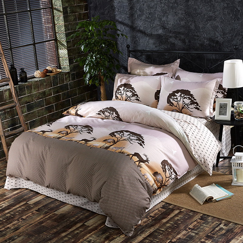 bIgmUm New Arrival 4pcs Bedding Sets 100% Cotton Printed Trees/Owl/Flowers Bedlinen Queen Size Duvet Cover Bed Sheet Pillowcase ...