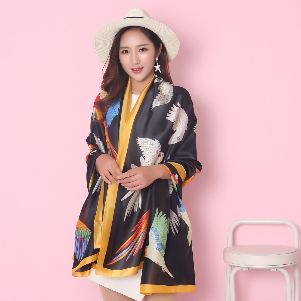Summer Fashion Bandana Luxury Scarve Women High Quality Silk Scarf Brand Ladies Shawl Colors Birds Print Hijab 180 X 70 CM