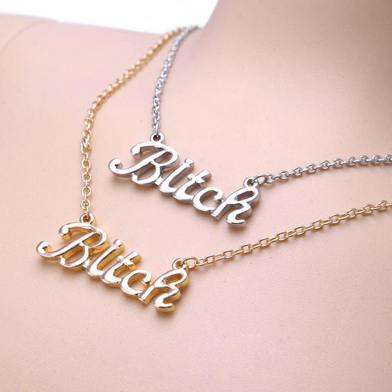 Fashion hip hop personality letter words Bitch pendant necklace jewelry hot selling