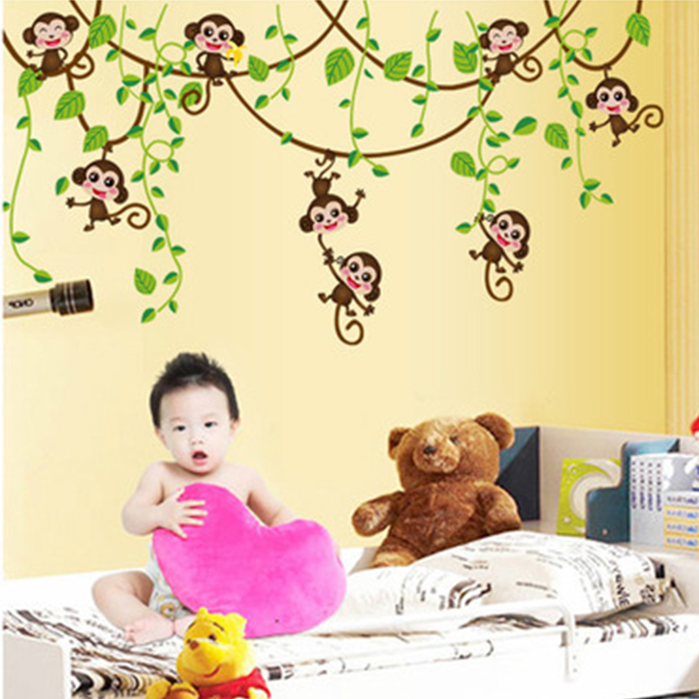 Jungle Monkey Tree Kids Baby Nursery Wall Sticker Funny Art Stickers ...