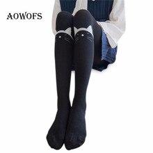 Для женщин колготки осень-зима трикотажные хлопковые Чулки для женщин милый кот черно-белой печати Колготки Для женщин женские колготки узкие теплые Колготки