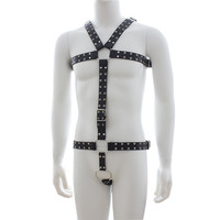 Male Studded Leather Chest & Waist Harness Fetish Wear Set with Metal Crotch Ring Body Building Macho Play Costume