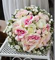 2015 Wedding Bouquet Handmade artificial flower wedding flower white pink rose vintage rustic Simulation flowers holding flowers