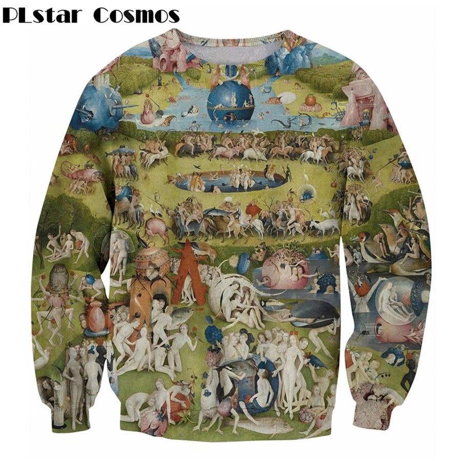 PLstar Cosmos Garden Sweatshirt EUR Religion Art Painting Print 3D Sweatshirt Men Women Long Sleeve Outerwear Crewneck Pullovers