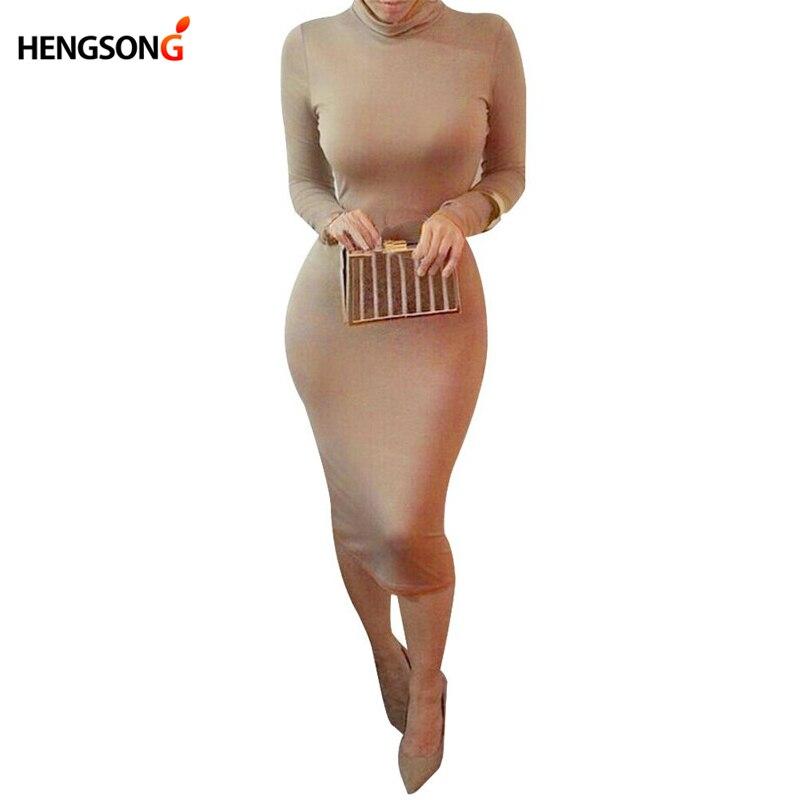 Sexy Women Bandage Dress Vestido 2018 Spring Turtleneck Slim Long Sleeve Bodycon Dress High Neck Club Sheath Wrap Vestido Female