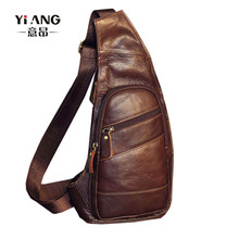 Men's Vintage Leather Sling Chest Bag Cross Body Messenger Shoulder Packet Motorcycle for Travel Riding Hiking Pouch