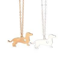 Золото Серебро 1 шт ожерелье с таксой ювелирные изделия с изображением таксы собака ожерелье подвеска в виде таксы серебро домашнее животное Doxie ожерелье Колбаса Собака Влюбленные