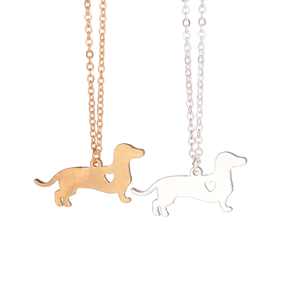 Guld Sølv 1 stk. Dachshund Halskæde Dachshund Smykker Hunde Halskæde Dachshund Vedhæng Sølv Pet Doxie Halskæde Pølse Hundelskere