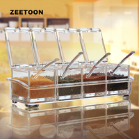 Brief Spice Jar Plastic Clear Storage Jars Salt Oil Chili Cans with Spoon Tanks Kitchen Accessories Seasoning Bottle Container