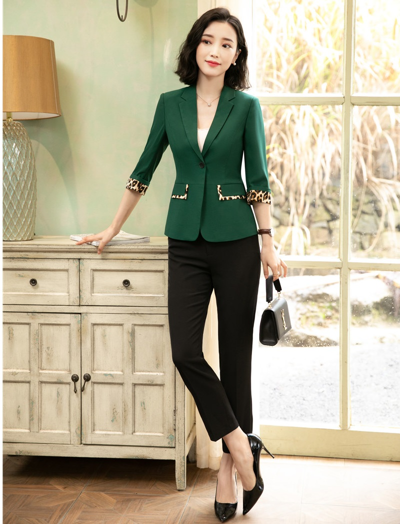 Half Sleeve Formal Business Suit With Jackets And Pants For Women OL Styles 2019 Spring Summer Blazers Pantsuits Pants Suits