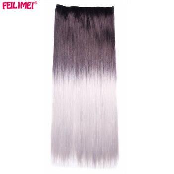 Feilimei 60 cm 120g Długie Proste Kobiety Klip w Przedłużanie Włosów Czarny Ombre Szary Wysokiej Tempreture Włókien Syntetycznych Włosów sztuk