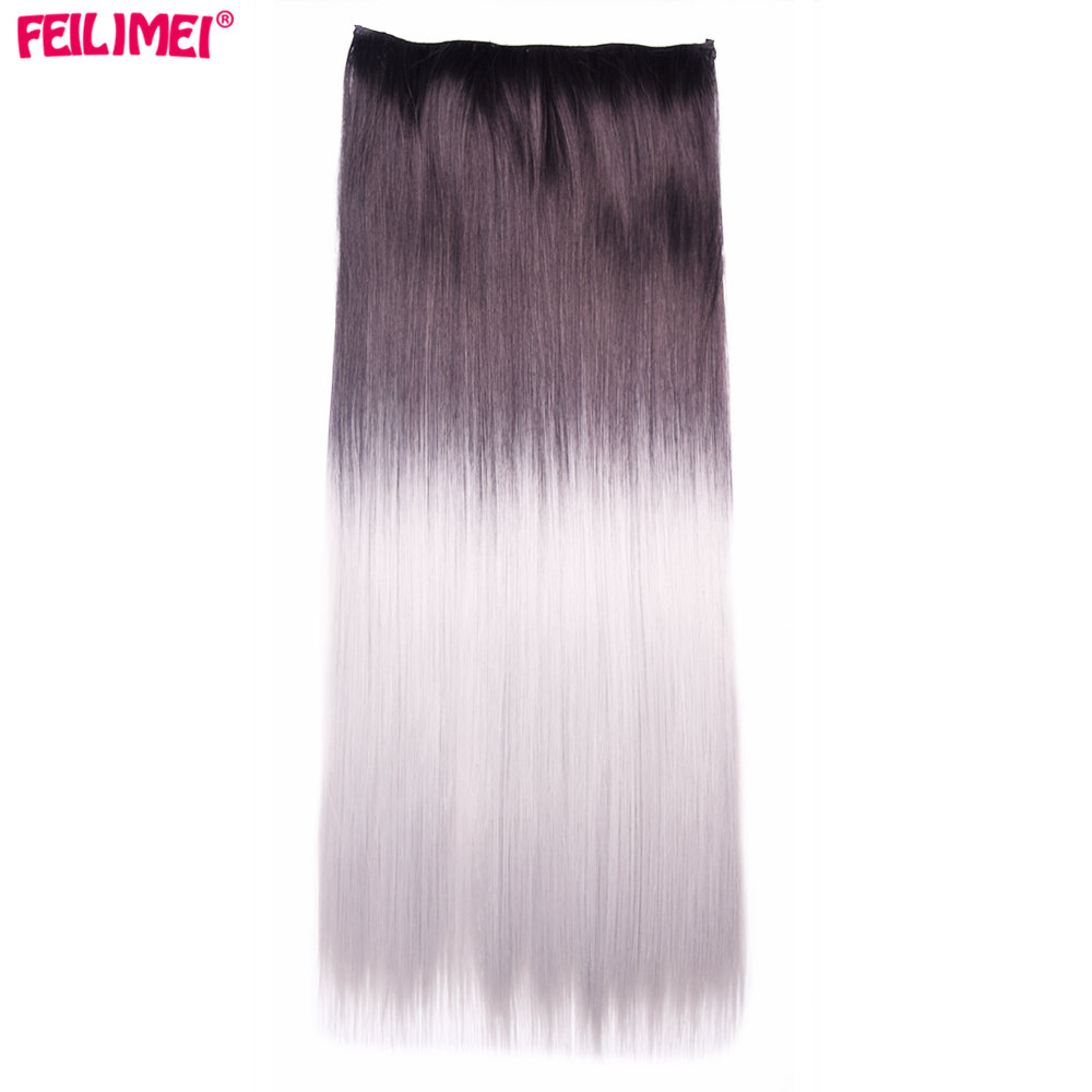 Synthetic Clip-in One Piece Constructive Feilimei 60cm 120g Long Straight Women Clip In Hair Extensions Black Ombre Gray High Tempreture Fiber Synthetic Hair Pieces Strong Resistance To Heat And Hard Wearing