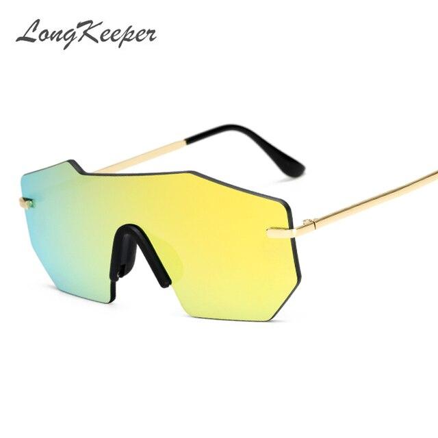 LongKeeper Polygon borderless Fashion Big frame sunglasses Square ...