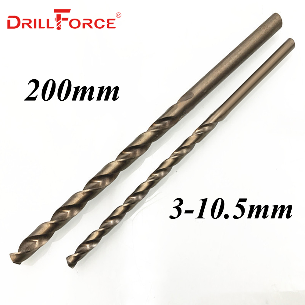 Drillforce Tools 3.0mm-10.5mmx200mm OAL HSSCO 5% Cobalt M35 Long Twist Drill Bits For Stainless Steel Alloy Steel & Cast Iron