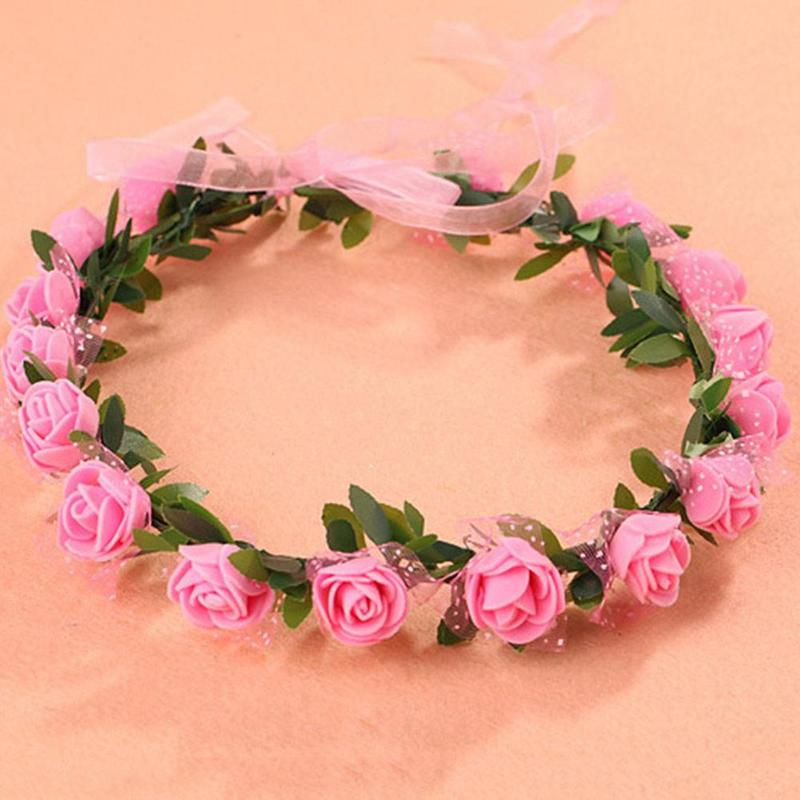 Practical 7pcs Rose Flower Hair Band Floral Headband Hair Wreath Headpiece For Wedding Holiday Festival Styling Tools