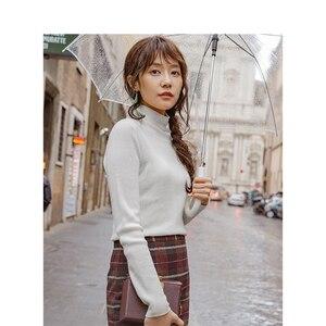 Image 4 - Инман осень 2018 г. новое поступление женский шерстяной Высокий воротник Fit диких моделей Тонкий пуловер свитер