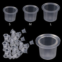 1000Pcs/Bag Plastic Microblading Tattoo Ink Cap Cup Pigment Clear Holder Container S/M/L Size For Needle Tip Grip Power Supply(China)