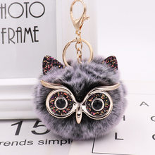New Mini Plush Real owl Fur Ball keychain Soft Toys Cute Fashion Kids Plush Dolls pompom fluffy Charm Baby For Girls Women gift(China)