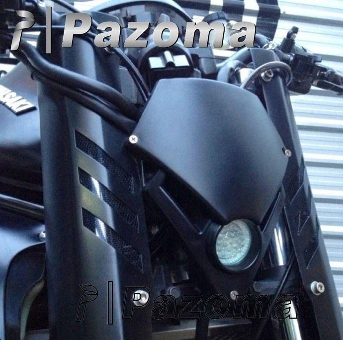 PAZOMA Black Headlamp Mini Motorcycle Streetfighter Enduro Headlight LED For GSX ZXR CBR CBF Hornet Fazer