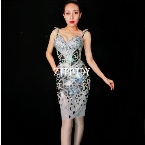 Kadın Giyim'ten Elbiseler'de 2018 3 Renkler Sparkly Gümüş Altın Sequins Kristal Elbise Kadınlar Doğum Günü Kutlamak Elbise Kostüm Balo Parlayan Aynalar Akşam O'da  Grup 1