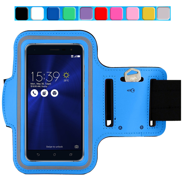 competitive price 53688 a3616 US $3.03 24% OFF|Sport Arm Band Jogging Case For Asus Zenfone 3 Laser / Max  / Deluxe Gym Waterproof PU Leather Cover Skin Running Accessories-in Phone  ...