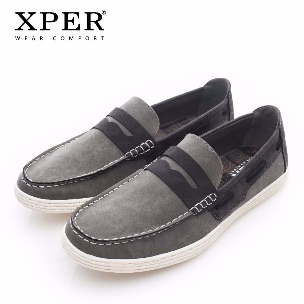 2018 XPER Brand Men Casual Shoes Fashion Leather Loafers Men Spring Slip-On Flats Shoes Men Soft Comfortable Footwear #XHY05005 roegre 2018 genuine leather casual men shoes comfortable soft leather men loafers slip on men flats fashion men s leather shoes
