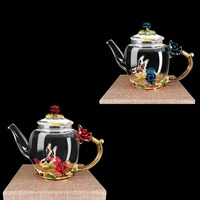 High grade Exquisite Luxury Enameled Crystal Glass of Heat resistant Teapot Kitchen Accessories Wedding Gifts Rose Water Teapot