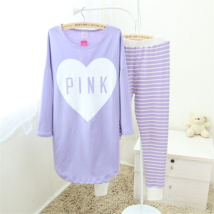 Fashion-Women-Heart-Pink-Letter-Sleepwear-Pajama-Suits-Ladies-Long-Sleeve-Cotton-Cute-Nightgown-Purple-Pyjama