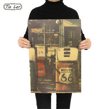 United States Route 66 Gas Station Wall Sticker Retro Nostalgia Kraft Paper Poster 51.5x36cm(China)