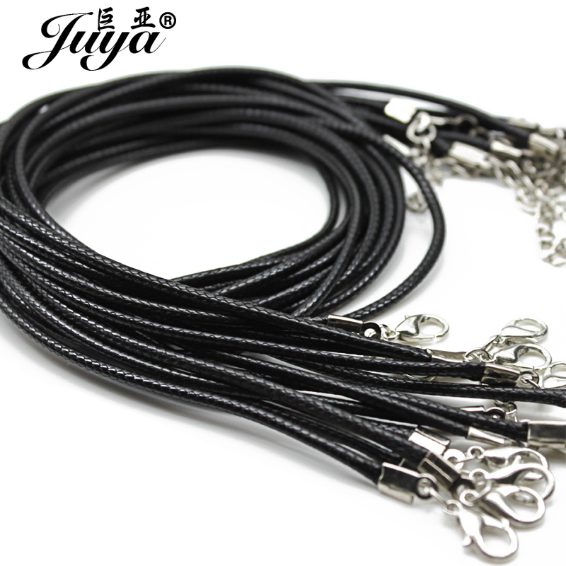 20pcs/lot 1.5mm Black Leather Cord Chains Adjustable Braided 45cm Rope for DIY Necklace Bracelet Jewelry Making Crafts Findings