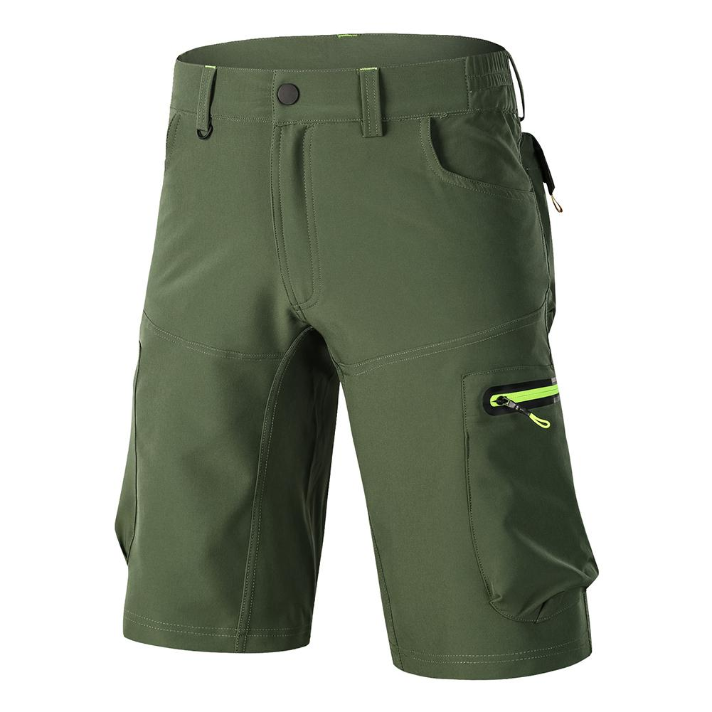 Men Outdoor Cycling Solid Color   Shorts   Quick Dry Zip Pocket Sportswear Trousers