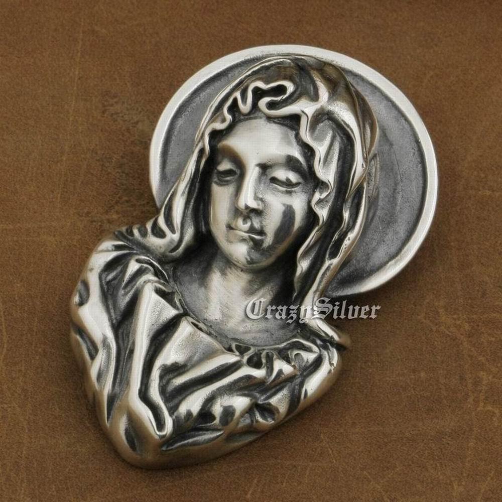 925 Sterling Silver Madonna Maria Pendant Huge Maria Jesus Pendant TA11A 925 Sterling Silver Madonna Maria Pendant Huge Maria Jesus Pendant TA11A