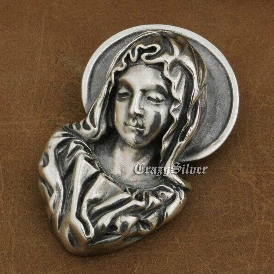 925 Sterling Silver Madonna Maria Jesus Pendant Charm Punk Pendant TA11D JP