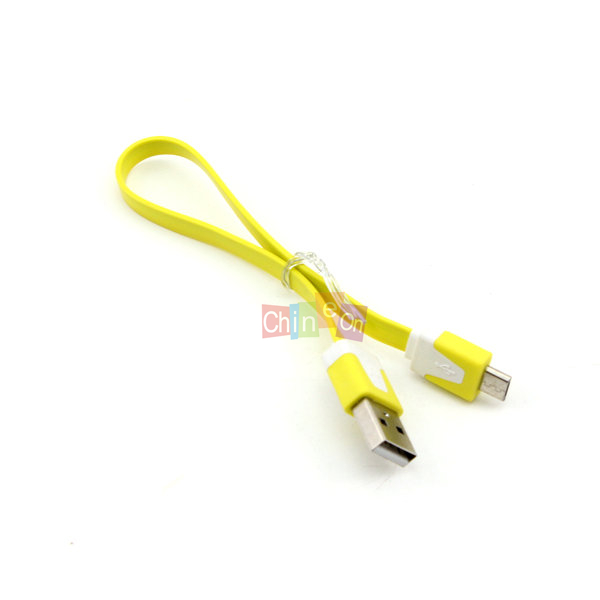 Drop Shipping Short Fast Flat Micro USB Sync Data Charger Cable For Samsung For Other Android Phones (Yellow Color)