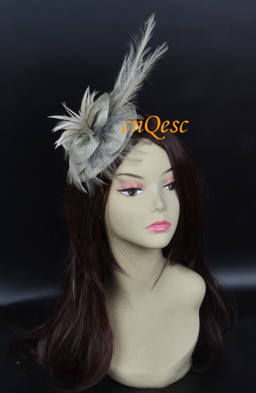 Silver gray Sinamay fascinator wedding bridal hat with long feather ... 1fbdadc65e8