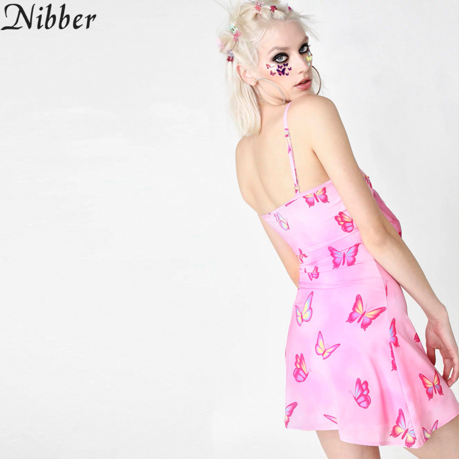 Nibber summer cute pink Butterfly print hollow mini dress women spring sexy Casual club party elegant off shoulder short dresses